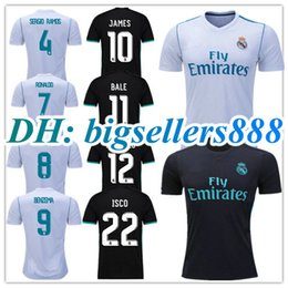 Wholesale 2017 Top Quality Real madrid soccer Jerseys RONALDO Home white Away black JAMES BALE RAMOS ISCO MODRIC Spain Football Shirts