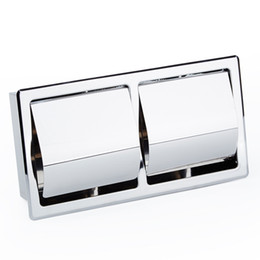 Wholesale Toilet Paper Holder Box - Single   Double Lattice Embedded Concealed Bathroom Toilet Paper Box Stainless Steel Hidden Toilet Roll Paper Holders