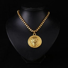 Wholesale Hip Hop Jewelry Women - New Arrivals Hip Hop 18K Gold Plated Lion's Head Pendant Necklace Fashion Jewelry for Men and Women