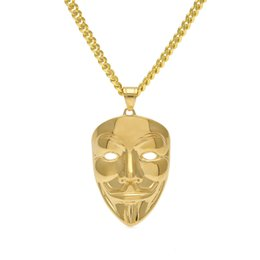 Wholesale Hip Ornaments - Hip-Hop Ornaments Gold-plated Clown Mask JokerFace Stainless Steel Pendant 5mm Cuban Chain Necklace Fashion Punk Jewelry