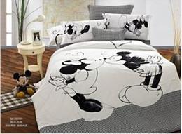 Wholesale Duvet Cover Minnie - Wholesale- Kissing mickey mouse minnie mouse 4pcs bedding sets queen king size duvet cover set 100% cotton bedline bedclothes for kids