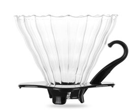 Wholesale Basket Plastic - Glass Coffee Dripper For Hario V60 Assemblable Coffee Filter Cone Wavy Surface for Coffee Server or Dripper Holde