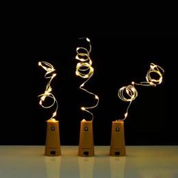 Wholesale Blue Bottle Stopper - 2017 Hot 2M 20LED Lamp Cork Shaped Bottle Stopper Light Glass Wine LED Copper Wire String Lights For Xmas Party Wedding