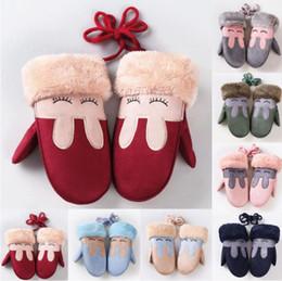 Wholesale Tuzki Rabbit - Winter Gloves Kids Girls Boy Children Faux Suede Tuzki Rabbit Fur Twist Gloves with Full Finger Warm Mittens with Long Rope Luva