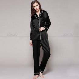 Wholesale Silk Set Pyjamas - Wholesale- Womens 100% Silk Pajamas Set Pajama Pyjamas Set Sleepwear Loungewear XS S M L XL