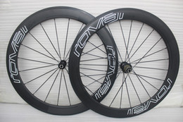 Wholesale Set Tubular Rims - powerway R36 hubs white decal full carbon bicycle wheels carbon clincher 60mm wheelset 700C full carbon bike rims wheels 3k road bike wheels