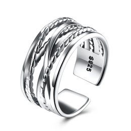 Wholesale Crossover Rings - Crossover 925 Sterling Silver Wide Band Fashion Open Cuff Ring