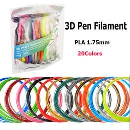 Alta qualità DIY 3D Printer Drawing Pen PLA Filamento 10 M 20 Colori 1.75MM Materiali di consumo di gomma plastica consumabili da grandi decorazioni natalizie fornitori