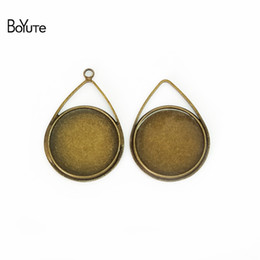 Wholesale Cabochon Ring Shapes - BoYuTe 40Pcs 20MM Cabochon Setting Waterdrop Shaped Bronze Silver Plated Cameo Cabochon Base DIY Jewelry Findings