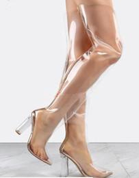 Plastik knie high heel stiefel online-Kim Kardashian Promi Lucite Heels Frauen Plexiglas Klar Oberschenkel Hohe Stiefel Golden Trim Kunststoff Transparente Overknee Booties