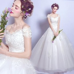 Wholesale Monarch Length Wedding Dress - Hot Sale Sweetheart White Wedding Dresses Lace Monarch Train Beaded Crystal Cap Sleeve Appliques Romantic Bridal Gowns