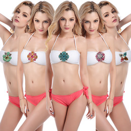 Wholesale Scrunch Butt Swimwear - Hot Sales White Top Hot Pink Swimwear Bottoms With Various Crystal Buckles Sexy Scrunch Butt Micro Bikini Holiday Seaby Spa Swimwear Women