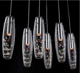 Wholesale Transparent Flower Vases - new Luxury High Power LED Dining Room Pendant Lamps Glass Vase Bottles Light Crystal Flowers Inside Bar Counter Restaurant Pendant Light