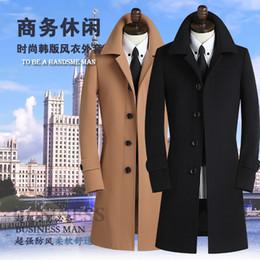Wholesale Slim Single Breasted Wool Coat - Wholesale- Black khaki grey 2016 autumn mens trench coat mens cashmere coat casual slim long design winter wool coat men clothing S - 9XL