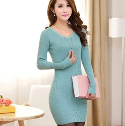 Wholesale Basic Cotton Long Dress - Wholesale-Knitting Cotton Sweater Dresses For Women 2016 Autumn Winter Basic Bodycon Pullovers Female Brief Solid Color Knitted Dress