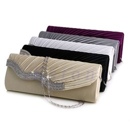 Wholesale Wholesale Crystal Evening Handbags - Wholesale-New Fashion Satin Diamante Pleated Crystal Evening Handbag Wedding Bridal Party Clutch Purse