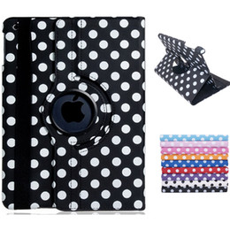 Wholesale Leather Faux Ipad - Wholesale-Polka Dot Print 360-Degree Rotation Faux Leather Flip Case with Stand for iPad Air 2