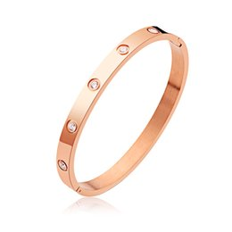 Wholesale Chains Bangles Gold Plated - Titanium steel Couples white crystal Nail Screw bracelets & bangles For Fashion Women men Love Jewelry