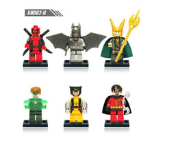 Wholesale Mini Batman - Free Shipping 6pcs The Avengers superhero series set toy building blocks mini Digital Batman Wolverine