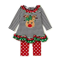 Wholesale Baby Santa Claus Suit - Baby Christmas stripe suits Kids Santa Claus Christmas deer ruffle Top+pants 2pcs sets Xmas children Clothing Sets 2 styles C2895