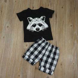 Wholesale Boys Plaid Shorts - Wholesale 2017 Kids Boys Fox Clothing Baby 2 Pieces Sets Children Summer Suits Short Sleeve Tshirt Plaid Pants For 70-110cm