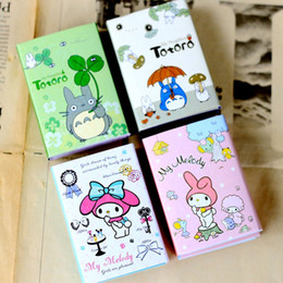 Wholesale Note Pad Pc - Wholesale- 4 pcs Lot Totoro memo pad My melody sticky notes Folding post Stationery office accessories School supplies 6355