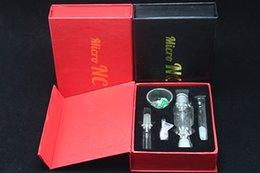 Tiendas de pipa online-Juego de tubos Micro de vidrio NC Tubo de fumar de 10 mm con clavo de titanio Extremidades de titanio Recolector de néctar de platos de cuarzo para compras gratis