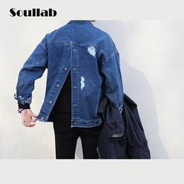 Wholesale Top Designed Hoodies Jackets - Wholesale- PLUS size drop shoulder mens top hoodies sprint denim jacket casual coats ripped destroyed brand design fashion casual clothing