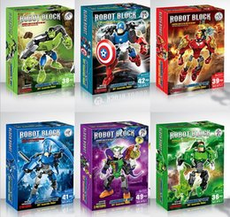 Wholesale Superhero Robot Toy - New DIY robot building block the Avengers super hero building blocks assembly Superhero Captain America Hulk Children educational diy toys