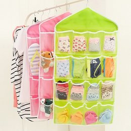 Wholesale Wardrobe Storage - 16 Pockets Foldable Wardrobe Hanging Bags Socks Briefs Organizer Clothing Hanger Closet Shoes Underpants Storage Bag