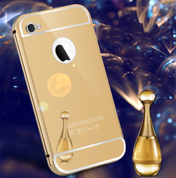 Wholesale Iphone4s Back Cover - For Apple iPhone 4S iPhone4S New Golden plating Aluminum Metal Frame + Mirror Acrylic Back Cover Case Phone protective