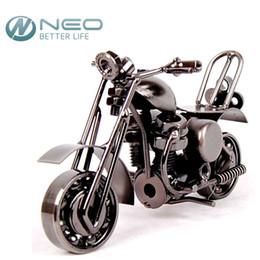 "Wholesale Retro Bathroom Decor - 14cm(5.5"")Vintage Motorcycle Model Retro Motor Figurine Iron Motorbike Prop Handmade Boy Gift Kids Toy Home Office Decor MOTO 61"