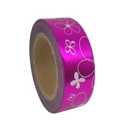 Wholesale Foil Japanese - Wholesale- 2016 Purple Flower Foil Washi Paper Tape Gift Packing Kawaii For Photo Album 10M*1.5CM Japanese Stationery Scrapbook Mask
