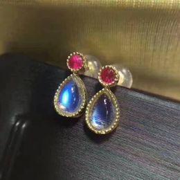 Wholesale Blue Moonstone Earrings - 925 Sterling Silver Earring Natural Blue Moonstone And Natural Ruby Jewelry for Women Gemstone Earring