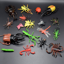 Wholesale Beetles Collection - 18pcs set 2.5-13cm PVC Simulation Spider Beetle mantis Scorpion Insect Toy Animal Collection Models Action Figures for Children