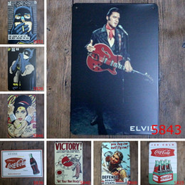 Wholesale Metal Murals - Retro Painting Elvis Presley Music Poster Picture Cafe Bar Iron Metal Posters Mural Wall Sticker Home Art Decor Tin sign Bar Paint