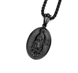 Wholesale Blessing Design - Fashion Mens Choker Necklace Blessed Virgin Mary Pendant Design Black Stainless Steel Jewelry Hip Hop Punk Rock Men Necklaces