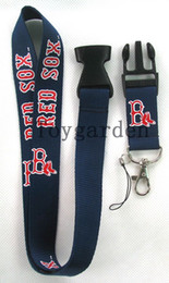 Wholesale Strap Camera Red - sell 10pcs Boston Red Sox Logo Lanyard,Mobile phone camera Keychain, ID Badge straps Possession of blue logo NLK-41