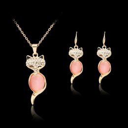 Wholesale Pink Gold Statement Necklace - fashion crystal necklace earrings Pink Opal fox Jewelry set Rose Gold Color Crystal Set for women Gift cute animal maxi statement