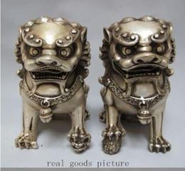 Wholesale Rare Cars - Rare Chinois Argent Gardien Lion Foo Fu Dog Statue Paire 12 cm Haute