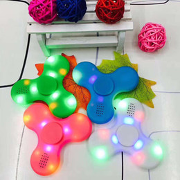 Wholesale Toy Led Gyroscope - New Fashion HOT Hand Spinner Bluetooth Speaker Built in Fingertip gyroscope LED Flash Light Tri-Spinner Fidget Anti Stress Decompression Toy