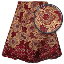 Wholesale Cotton Voile Yards Wholesale - Free Shipping African Swiss Voile Lace With Stones High Quality Wedding Lace African Fabric 5 Yards 100% Cotton Swiss Voile Lace