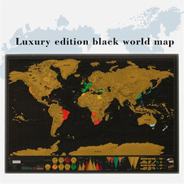 Wholesale Map Live - Black World Map Vintage Deluxe Scratch Map 82.5 x 59.4 cm Home Decor World Map Wallpaper Wall Stickers Stickers Toys Gifts