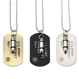 Wholesale Men Necklace Military - Punk necklace personality influx of people pendant long men and women fashion hanging warheads military pendant popular jewelry