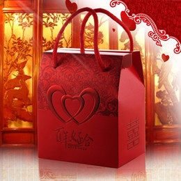 Wholesale Chinese New Year Decorations Box - wholesale Candy Favor Boxes Red Rectangle Wedding Supplies Favor Gifts Paper for Mariage Decoration
