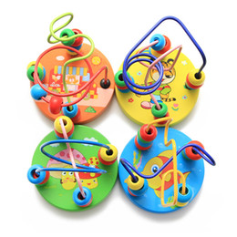 Wholesale Wooden Toys Bead Maze - Wholesale- 1pc Children Baby Colorful Wooden Mini Around Beads Wire Maze Early Educational Ablility Developing Toys