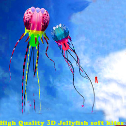 Wholesale Soft Jellyfish - Wholesale- free shipping high quality new 3d kite jellyfish soft kite nylon ripstop with handle line outdoor toys large kite surf octopus