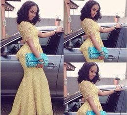 2019 lacet fashion nigeria Robe De Soirée Sirène Jaune Robe De Soirée De Style Elegant Etage Longueur Dentelle Nigeria lacet fashion nigeria pas cher