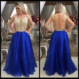 vestido de fiesta de gasa azul brillo Rebajas Vestido de fiesta Royal Blue Una línea de vestidos de fiesta de gasa Apliques de oro Glitter Beaded Atractivos vestidos de noche