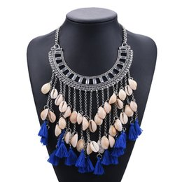 Wholesale Red Thread Necklace - New Design Luxury Bohemia Style Shell Handmade Necklace Female Statement Necklace Thread Tassel Jewelry Accessory Wholesale